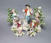 Five Continental porcelain figures, tallest 22.5cmCONDITION: Pair of bocage figures - some damage to