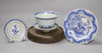 A group of Chinese blue and white wares, including a Chinese blue and white dish, a similar pedestal