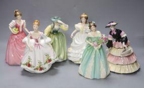 Five Royal Doulton porcelain ladies and a Coalport porcelain lady