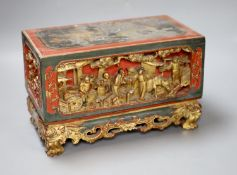 A 19th century Chinese red lacquer and gilt offering box (chanab), length 33cm