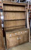 A Victorian pine dresser, length 141cm, depth 52cm, height 240cm