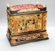 A 19th/20th century Chinese carved gilt lacquer offering box (chanab), height 32cm