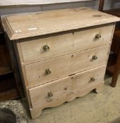 A late Victorian stripped pine chest of drawers, (altered) width 86cm, depth 48cm, height 81cm