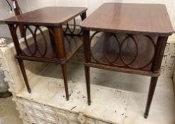 A near pair of mahogany two tier occasional tables, width 65cm, depth 49cm, height 66cm