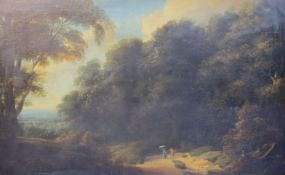 Early 19th century English Schooloil on canvasTravellers in a wooded landscape19 x 29.25in.