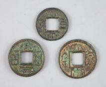 China, 3 Ancient round bronze coins, Three Kingdoms (AD 221-280), comprising a Kingdom of Shu (AD