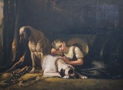 Fritz Gotfred Thomsen (1819-1891)oil on canvasGirl and mastiffs in a stablesigned28.5 x 39in.