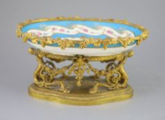 A French Sevres style porcelain and ormolu mounted oval centrepiece dish, 19th century, the
