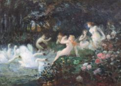 Henri-Théodore Fantin-Latour (French 1836-1904)oil on canvasSymbolist Nymphs being chased by
