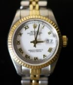 A lady's early 1990's steel and gold Rolex Oyster Perpetual Datejust wrist watch, on a steel and