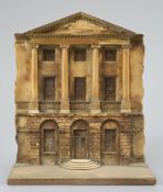 A 19th century painted wood architectural elevation model of Lansdowne House portico, after Robert