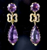A pair of Victorian style gold, pear and round cut amethyst and seed pearl cluster set drop