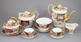 A Herculaneum porcelain Imari pattern 8080 part tea and coffee set, c.1812-15, including teapot,