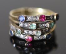 A 19th century gold, sapphire, ruby, emerald and rose cut diamond set quadruple shank half hoop