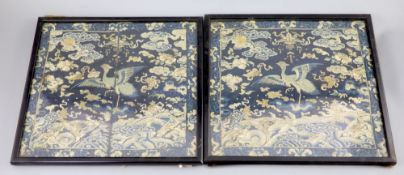 A pair of Chinese embroidered silk civil rank badges, late Qing dynasty, woven with pheasants?