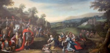18th century Flemish Schooloil on canvasBiblical scene33.5 x 68in.CONDITION: Relined many years ago,