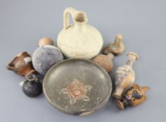 A group of Ancient Greek pottery vessels, Attic and Apulia, 4th-5th century BC, most with old