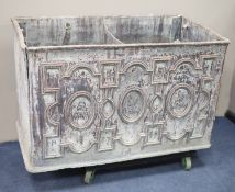 A George III lead water cistern of impressive proportions initialled and dated 'I.B 1788' and