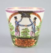 A rare pearlware 'Orangemen' pink lustre beaker, c.1830, with figures and verse the reverse with