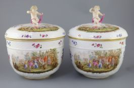 A pair of large Meissen style porcelain bowls and covers, late 19th century, possibly Potschappel,