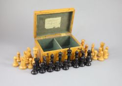 """A Jaques & Son Staunton 3 1/2"""" boxwood and weighted chess set in original golden oak box, c.1910,"""