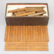 A set of sixty Chinese inscribed bamboo games counters or tallies, late Qing dynasty, each incised