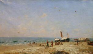 Luigi Steffani (Italian, 1827-1898)oil on canvasFisherwoman and children on the beachsigned23 x