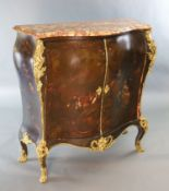A late 19th century Louis XVI style serpentine bombe commode, with marble top and Vernis Martin