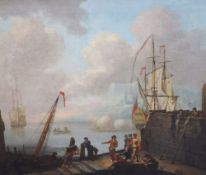 Follower of Joseph Vernet (1714-1789)pair of oils on canvasHarbour scenes with warships firing
