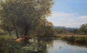 George Vicat Cole (1833-1893)oil on canvasOn the Thames at Streatleymonogrammed and dated 188532 x