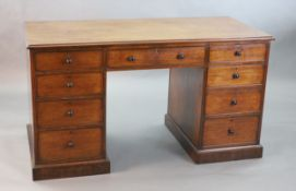 A George III mahogany kneehole desk, with plain rectangular top and nine drawers, fitted knob