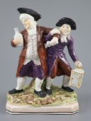 An Enoch Wood & Sons group 'The Vicar and Moses', c.1800-10, the group standing on a canted
