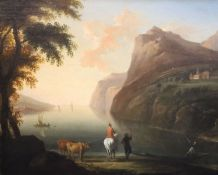 18th century English Schooloil on canvasTravellers in a coastal landscape with ferryman20 x 25in.