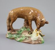 A Ralph Wood the Younger polychrome pottery figure of a fox with rooster, c.1780, 16.5cm