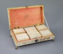 A Cantonese mother of pearl gaming box, mid 19th century, the interior fitted with five lidded boxes