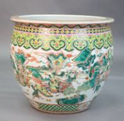 A large Chinese famille verte goldfish bowl, late 19th century, the exterior well-painted with a
