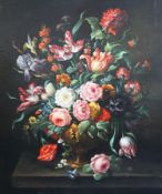 17th century Dutch styleoil on canvasStill life of flowers in an urn upon a ledge35 x 29in.