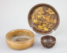 A Chinese carved bamboo cup, a plain bamboo brushwasher, 18th/19th century and a gilt decorated