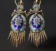 A pair of Italian 19th century style 14k gold (stamped 585), rose cut diamond and two colour