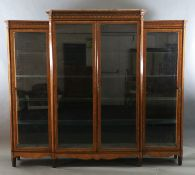 A 19th century French Louis Philippe period kingwood and marquetry vitrine, with moulded cornice and