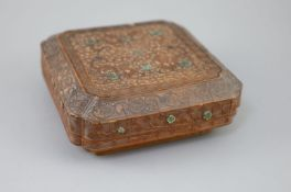 A rare Chinese bamboo-veneer (tiehuang) shaped square box and cover, Qianlong period (1736-95),