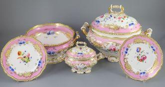 An extensive one hundred and thirteen piece English porcelain dinner and dessert service, c.1825-30,