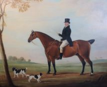 Follower of James Loden of Bath (1784-1854)oil on canvasPortrait of a gentleman on a bay hunter with