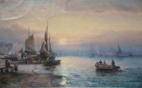 Hubert and William Thornley (fl.1858-1898)pair of oils on canvasFishing boats and fisherfolk along