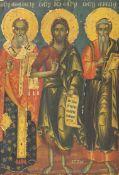 An 18th century Macedonian tempera on panel icon, depicting Saints Athanasius, John the Baptist
