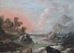 Follower of Rutger Verburg (Dutch 1678-1746)oil on canvasWinter landscape with skaters13 x 18.5in.