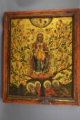 An early 19th century tempera on wooden panel icon, depicting the Virgin Mary and the Infant