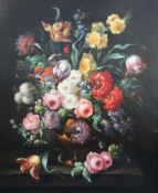 17th century Dutch styleoil on canvasStill life of flowers in a vase upon a ledge35 x 29in.