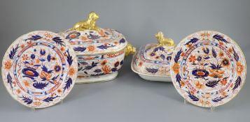 An extensive Coalport Imari pattern dinner service, c.1820, comprising two oblong soup tureens,