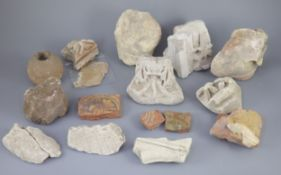 A group of English medieval church/priory architectural stonework and tile fragments, some pieces